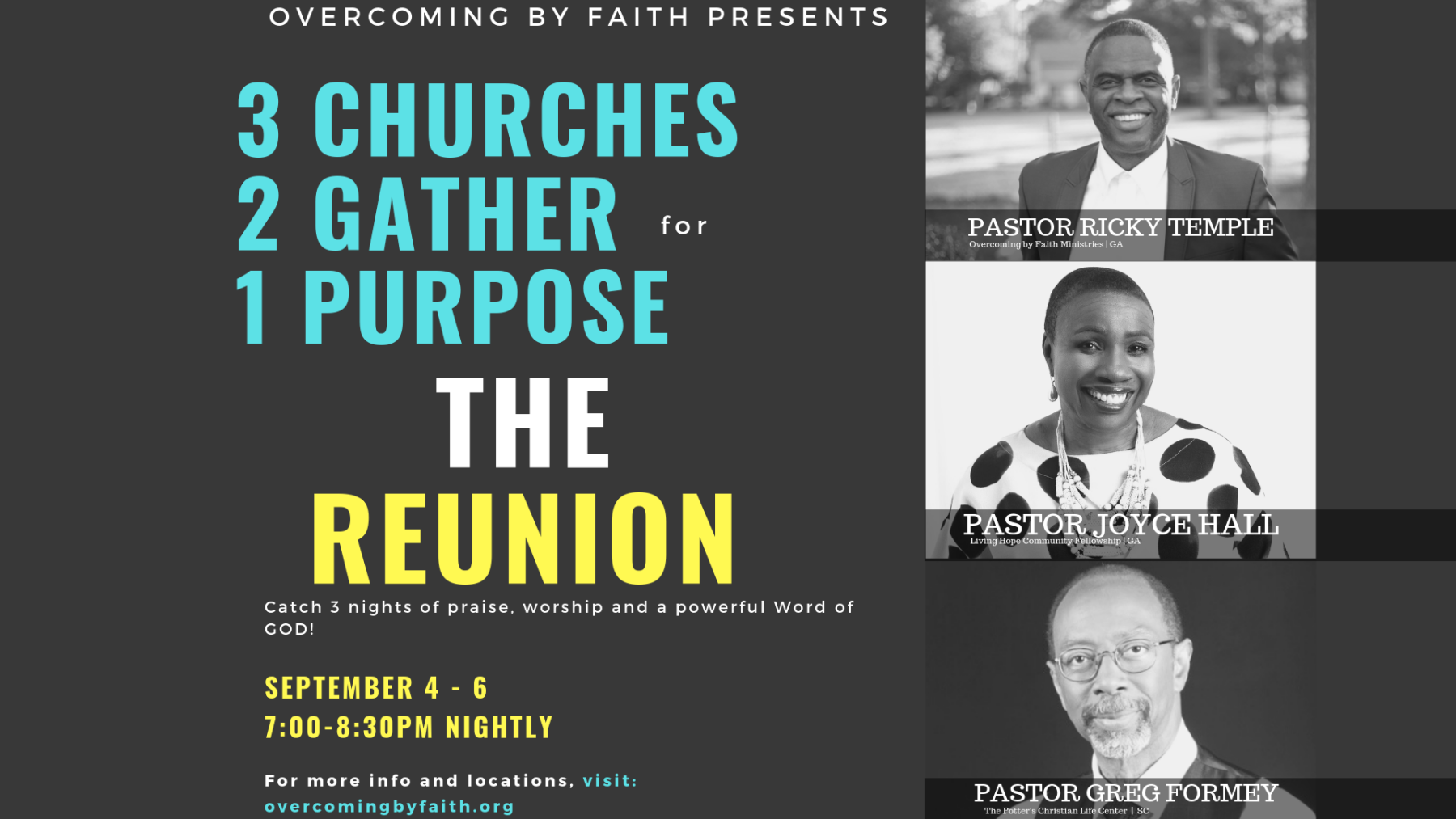 The Reunion: 3 Churches. 2 Gather for 1 Purpose